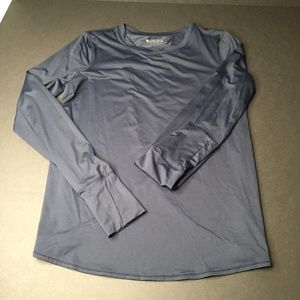 Athleta Gray Overlapping  Long Sleeve Tee
